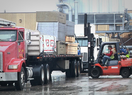 Building Supplies can be delivered on boom trucks